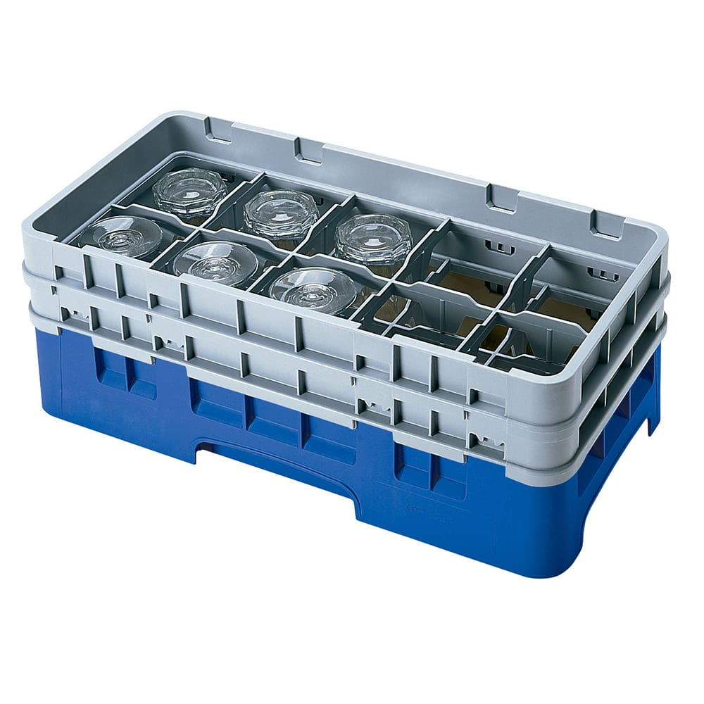 Cambro 10HS434186 Camrack Glass Rack - (2)Extenders, 10 Compartments, Navy Blue