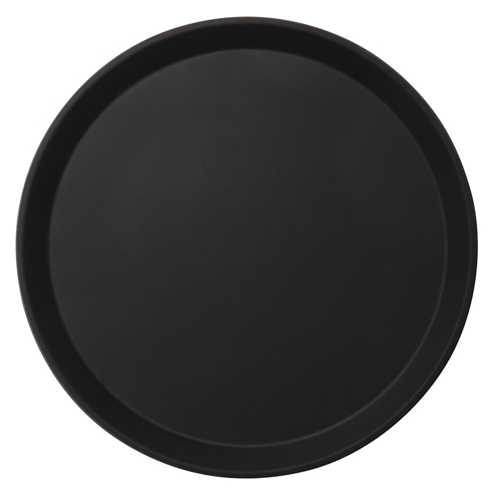 "Cambro 1100CT110 11"" Camtread Round Serving Tray - Black Satin"