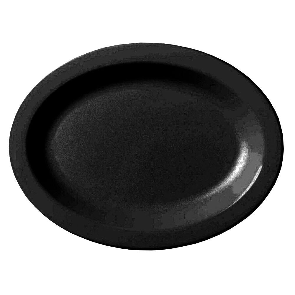 "Cambro 120CWP110 Oval Camwear Platter - 12x9"" Black"