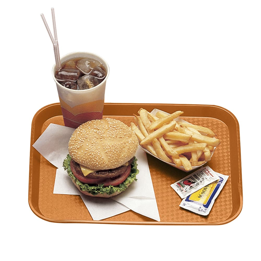 "Cambro 1216FF166 Rectangular Fast Food Tray - 12x16-1/8"" Orange"