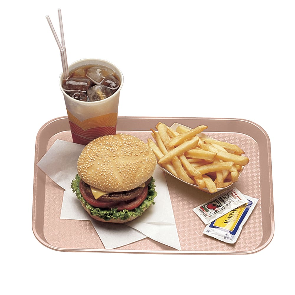"Cambro 1216FF409 Rectangular Fast Food Tray - 12x16 1/8"" Blush"