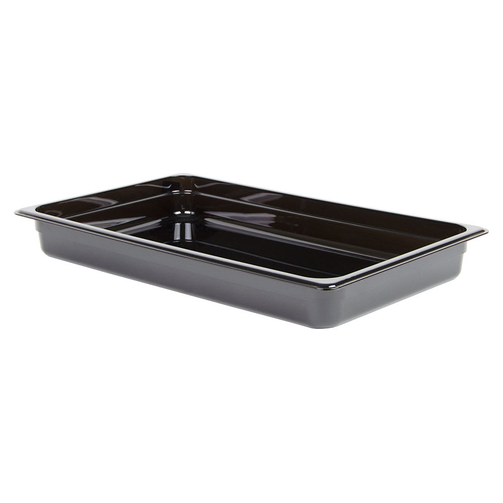 "Cambro 12HP110 H-Pan Hot Food Pan - Full Size, 2 1/2"" Non-Stick, Black"