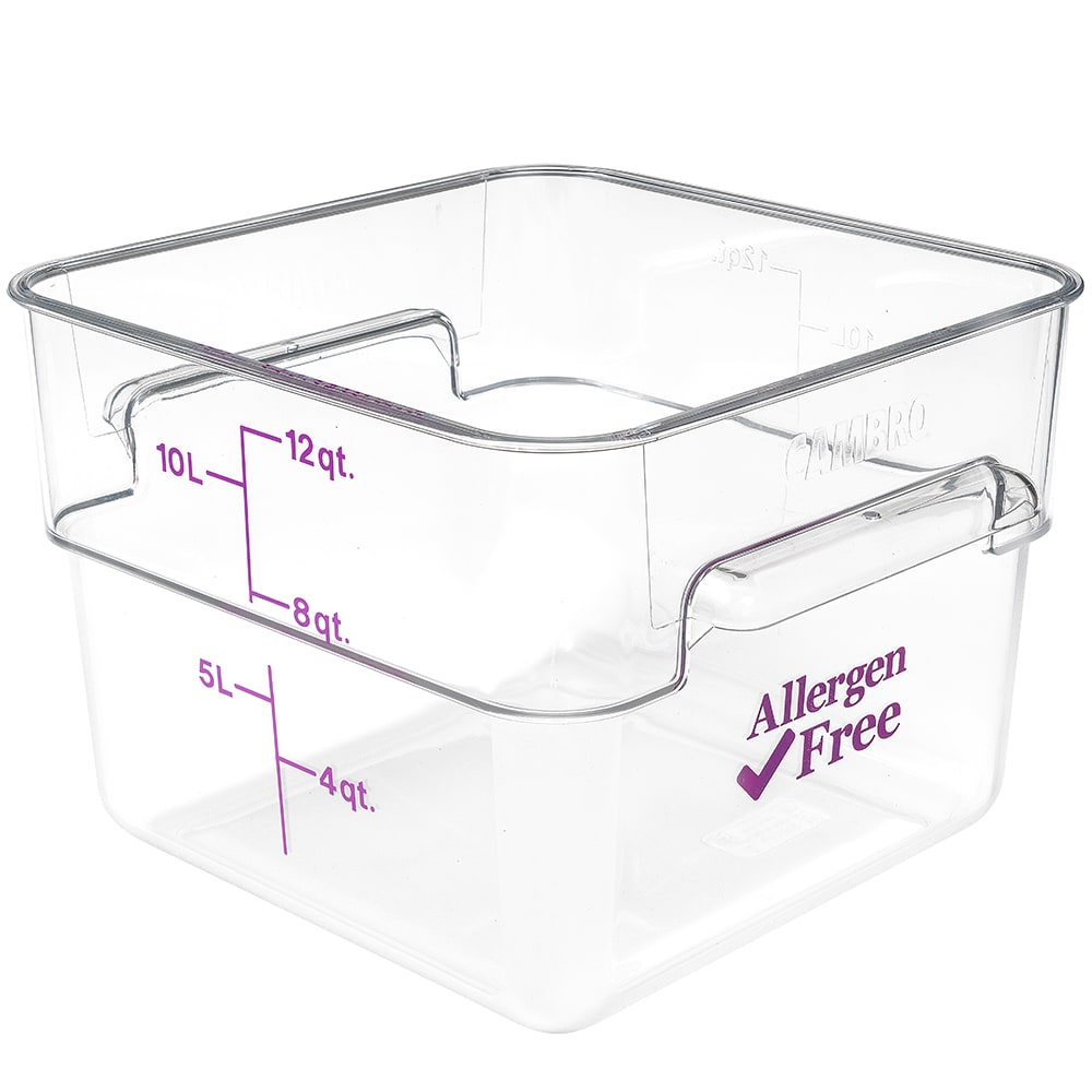 Cambro 12SFSCW441 12 qt Food Container - Allergen-Free, Polycarbonate, Clear