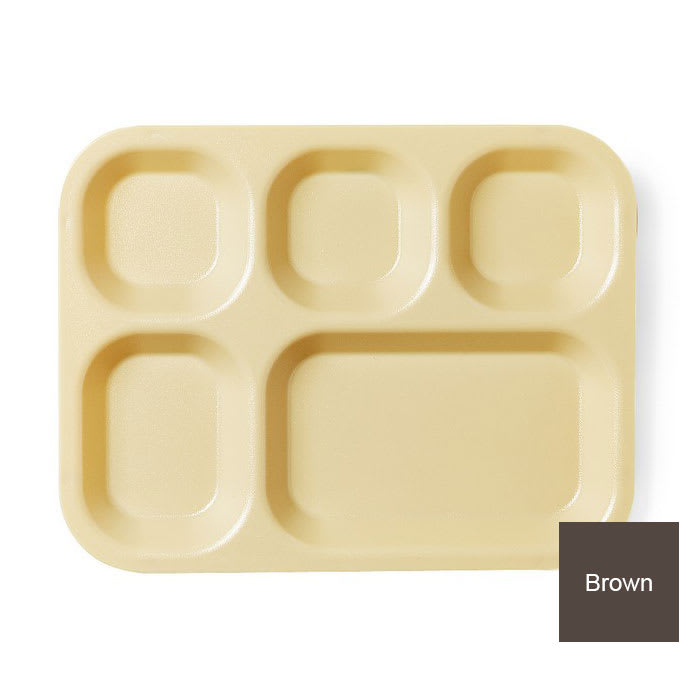 "Cambro 14105CP167 Rectangular Camwear Tray - 5-Comparment, 10-11/16x14x1-1/8"" Brown"