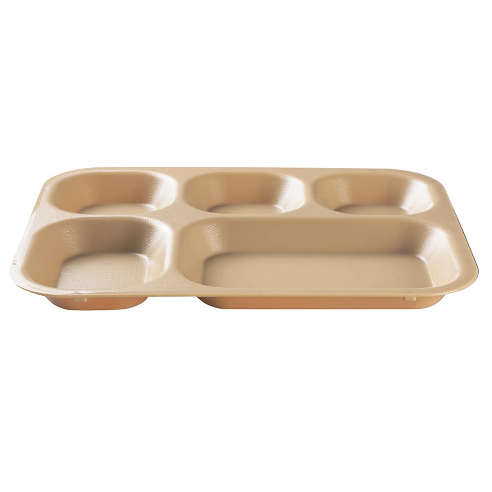 "Cambro 14105CW133 Rectangular Camwear Tray - 5 Compartment, Beige, 10"" x 14"" x 1"""