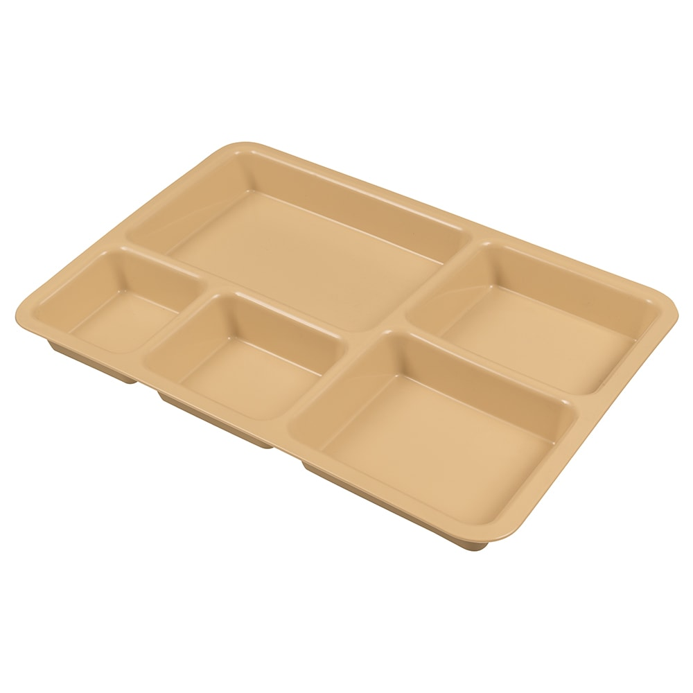 "Cambro 1411CP161 Tray-on-Tray Meal Delivery - 5-Compartment, 14-3/8x10-9/16x1-1/4"" Tan"