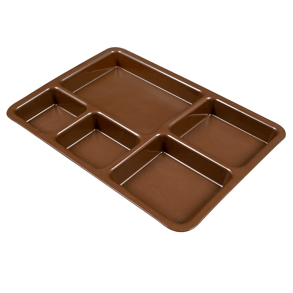 """Cambro 1411CP167 Tray-on-Tray Meal Delivery - 5 Compartment, 14 3/8x10 9/16x1 1/4"""" Brown"""
