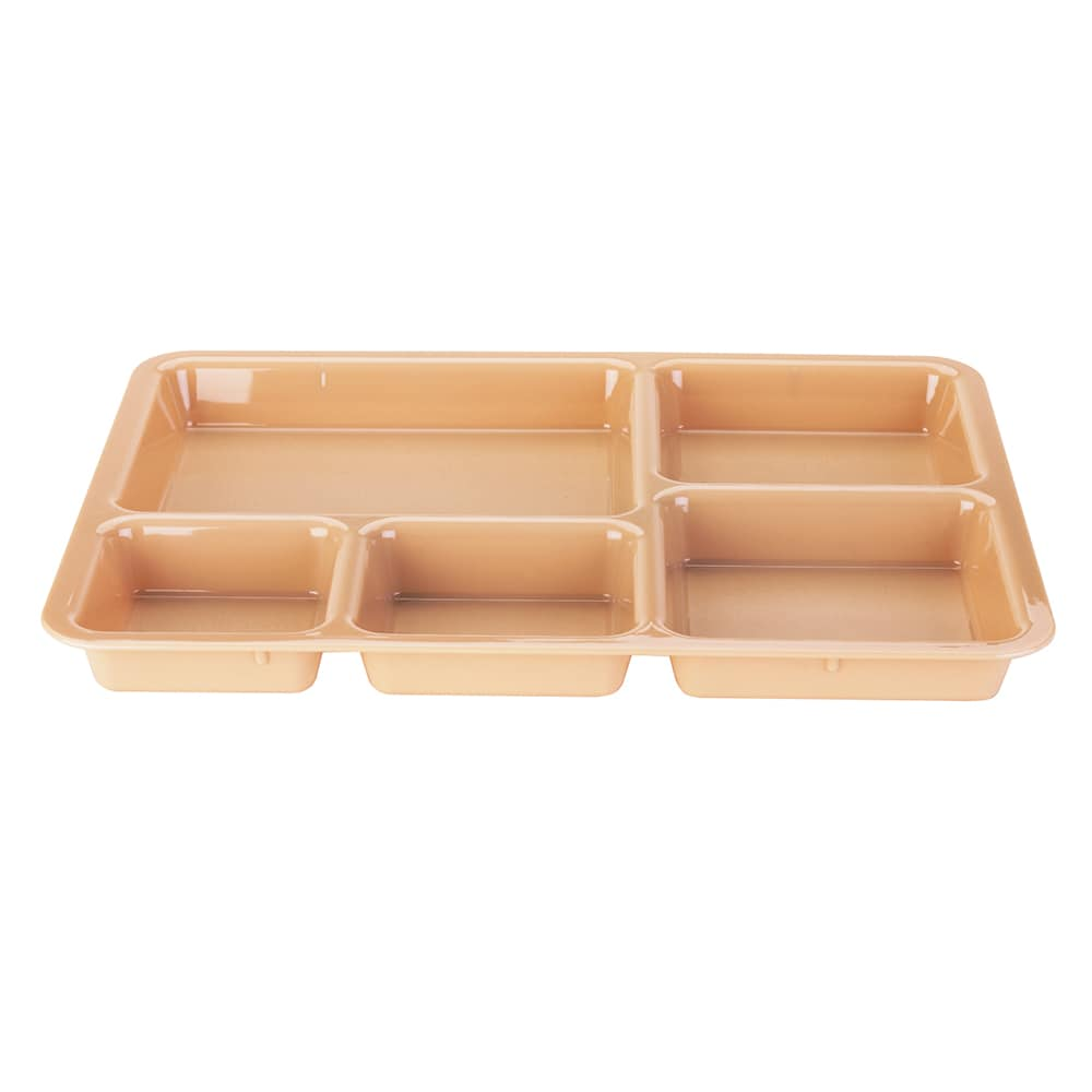 """Cambro 1411CW133 Tray-on-Tray Meal Delivery - 5-Compartment, 14-3/8x10-9/16x1-1/4"""" Beige"""