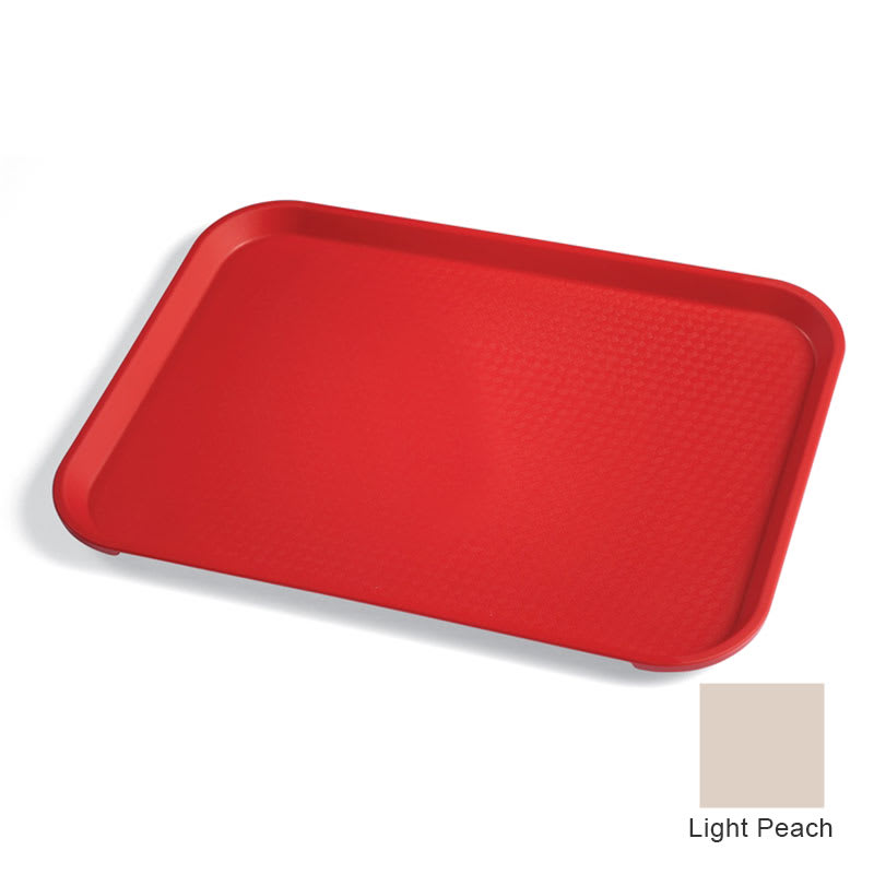 "Cambro 1418FF106 Rectangular Fast Food Tray - 13 13/16x17 3/4"" Light Peach"