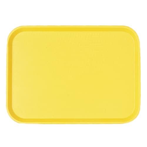 "Cambro 1418FF108 Rectangular Fast Food Tray - 13-13/16x17-3/4"" Primrose Yellow"