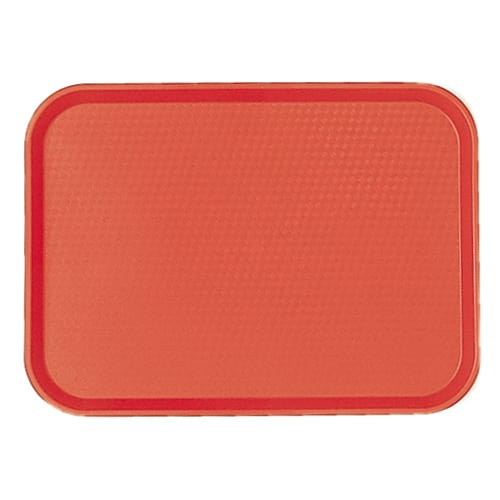 "Cambro 1418FF163 Rectangular Fast Food Tray - 13 13/16x17 3/4"" Red"