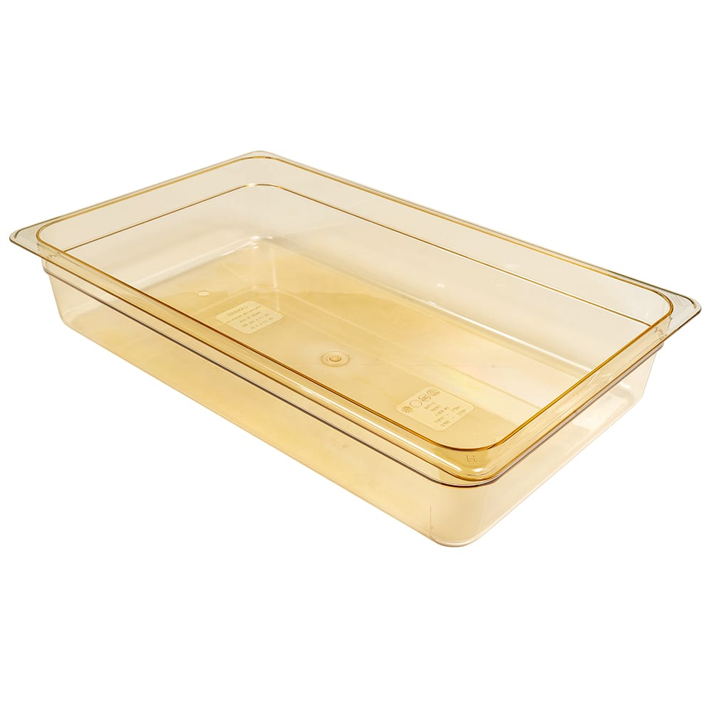 "Cambro 14HP150 H-Pan Hot Food Pan - Full Size, 4""D Non-Stick, Amber"