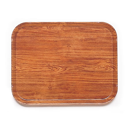"Cambro 1520309 Fiberglass Camtray® Cafeteria Tray - 20.25""L x 15""W, Java Teak"
