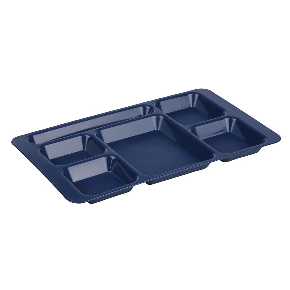 """Cambro 1596CP186 Rectangular Camwear Tray - 6 Compartment, 9x15"""" Navy Blue"""