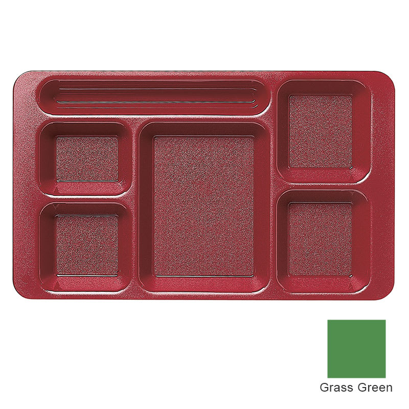 "Cambro 1596CP437 Rectangular Camwear Tray - 6-Compartment, 9x15"" Grass Green"