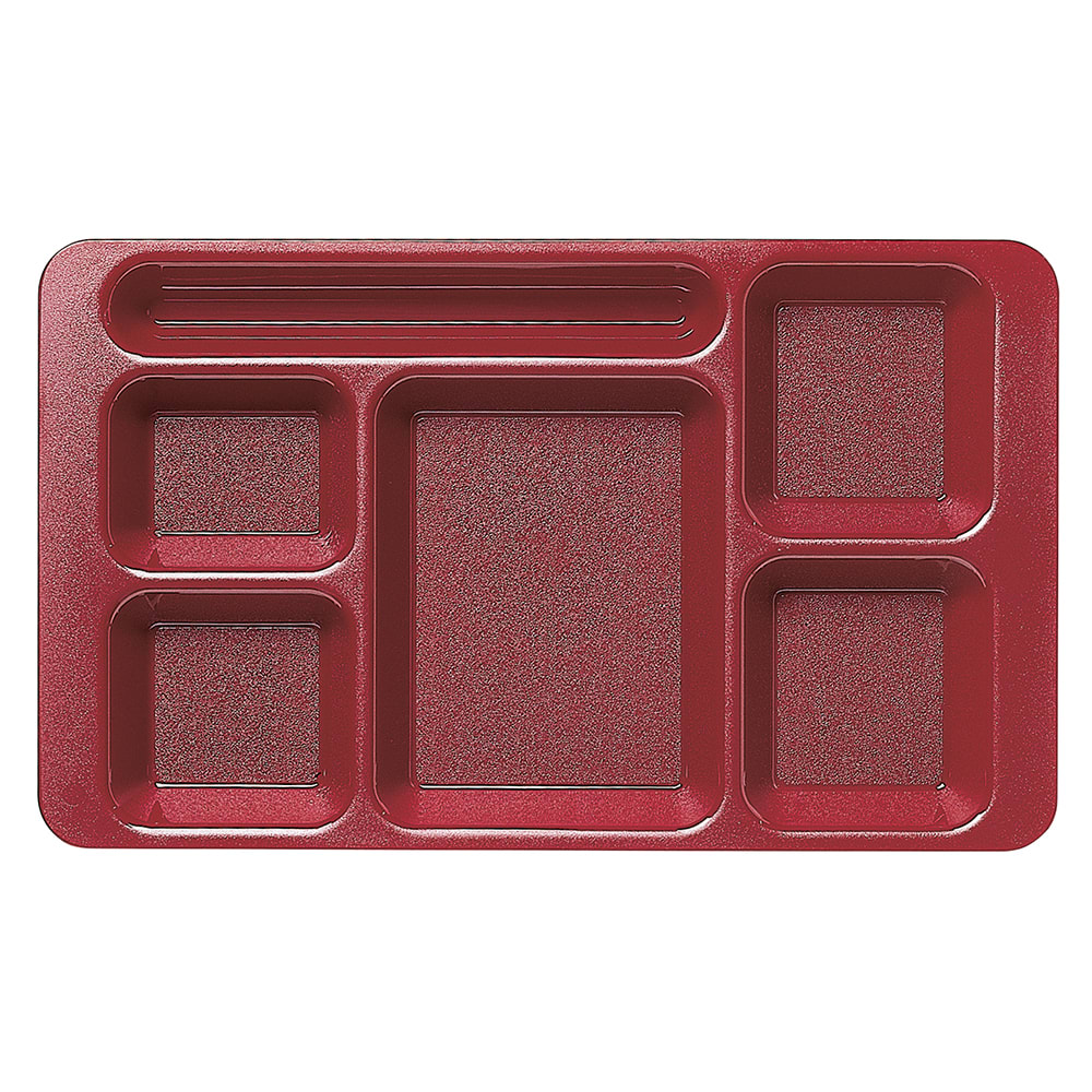 "Cambro 1596CW416 Rectangular Camwear Tray - 6 Compartment, 9x15"" Polycarbonate, Cranberry"