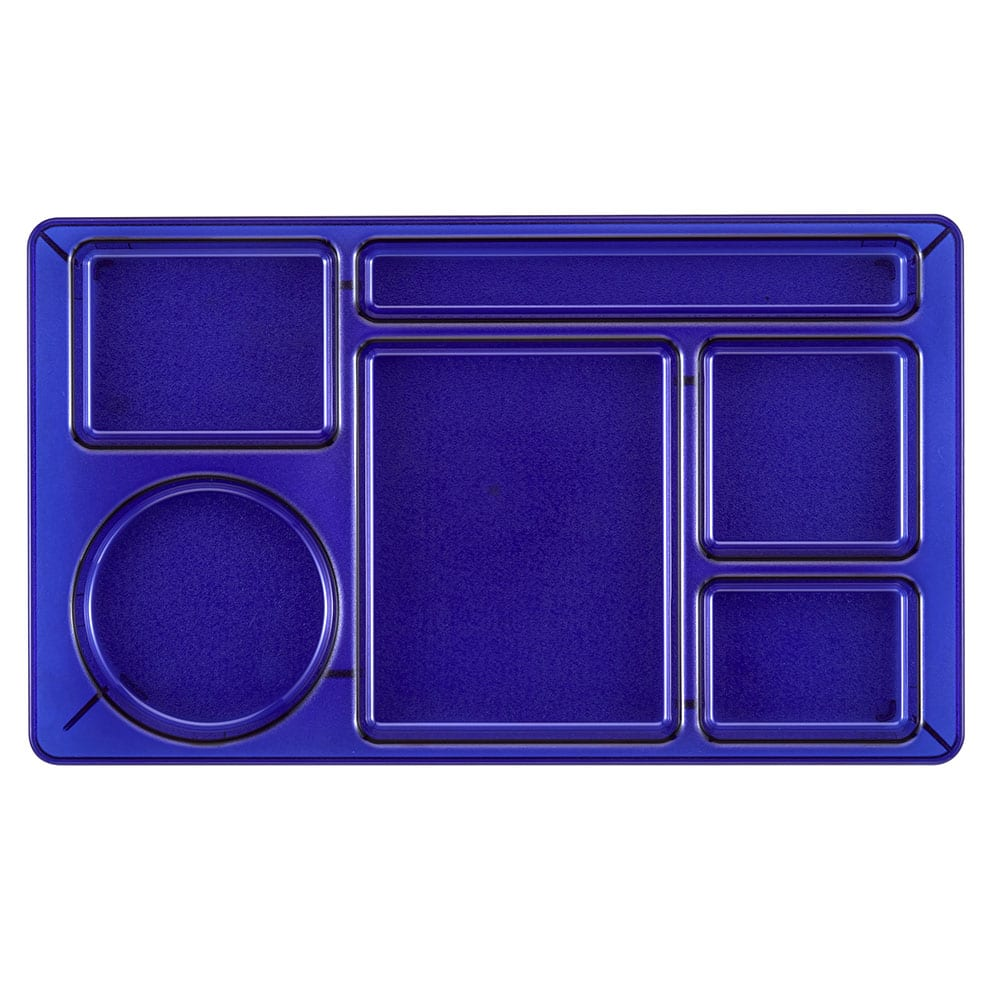 "Cambro 1596CW431 Rectangular Camwear Tray - 6-Compartment, 9x15"" Polycarbonate, Translucent Blue"