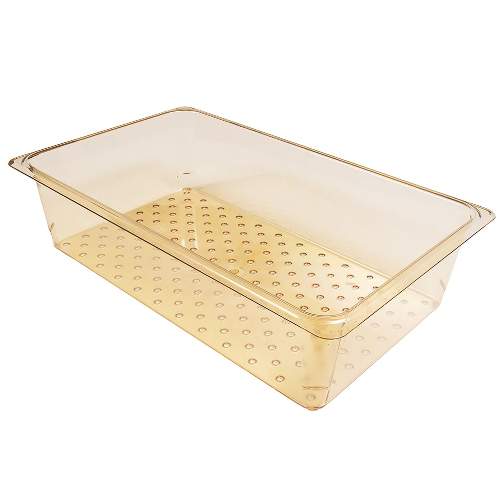 """Cambro 15CLRHP150 H-Pan Colander - Full Size, 5""""D, Amber"""