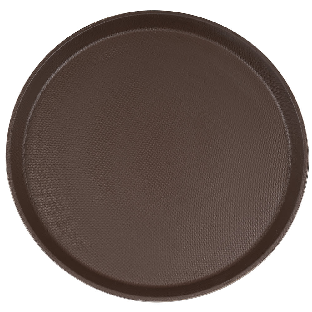"Cambro 1600CT138 16"" Round Camtread Serving Tray - Tavern Tan"