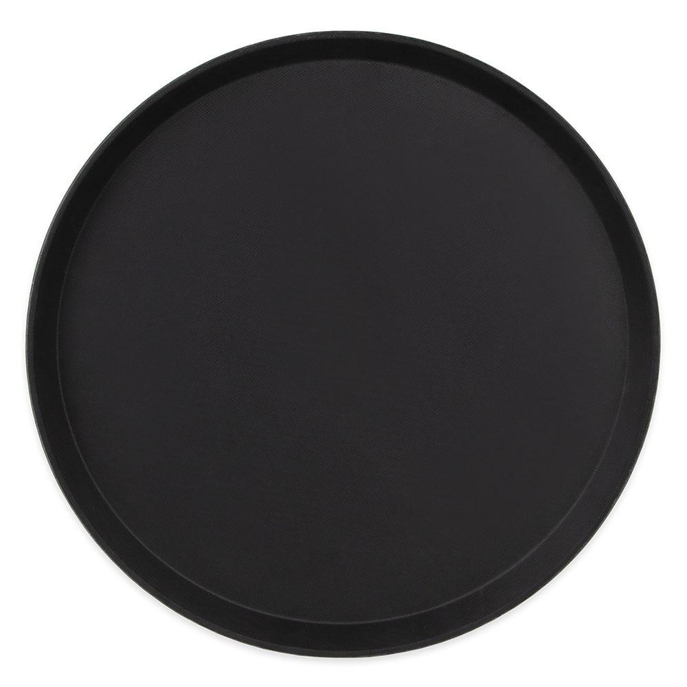 """Cambro 1600TL110 15.94"""" Round Treadlite Tray, Non-Skid, Black"""