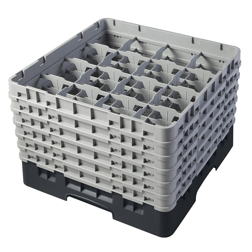 "Cambro 16S1114110 Camrack Glass Rack - (6)Extenders, 16 Compartment, 11 3/4""H Black"