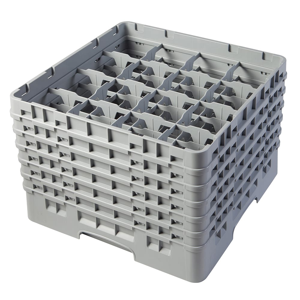 """Cambro 16S1114151 Camrack Glass Rack - (6)Extenders, 16 Compartment, 11 3/4""""H Soft Gray"""