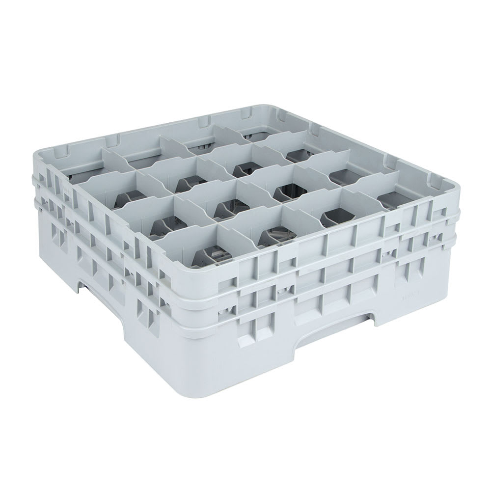 "Cambro 16S534151 Camrack Glass Rack - (2)Extenders, 16-Compartment, 6-1/8""H Soft Gray"