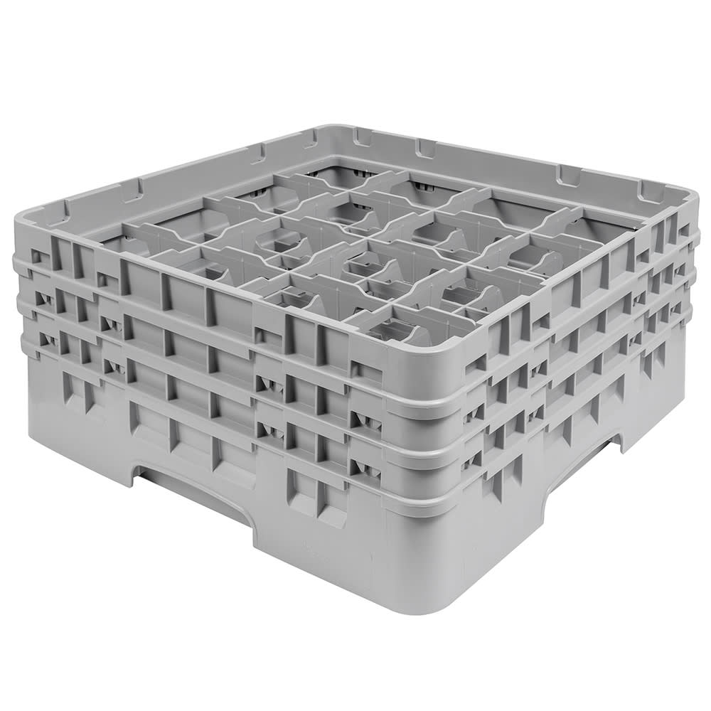 """Cambro 16S638151 Camrack Glass Rack - (3)Extenders, 16 Compartment, 6 7/8""""H Soft Gray"""