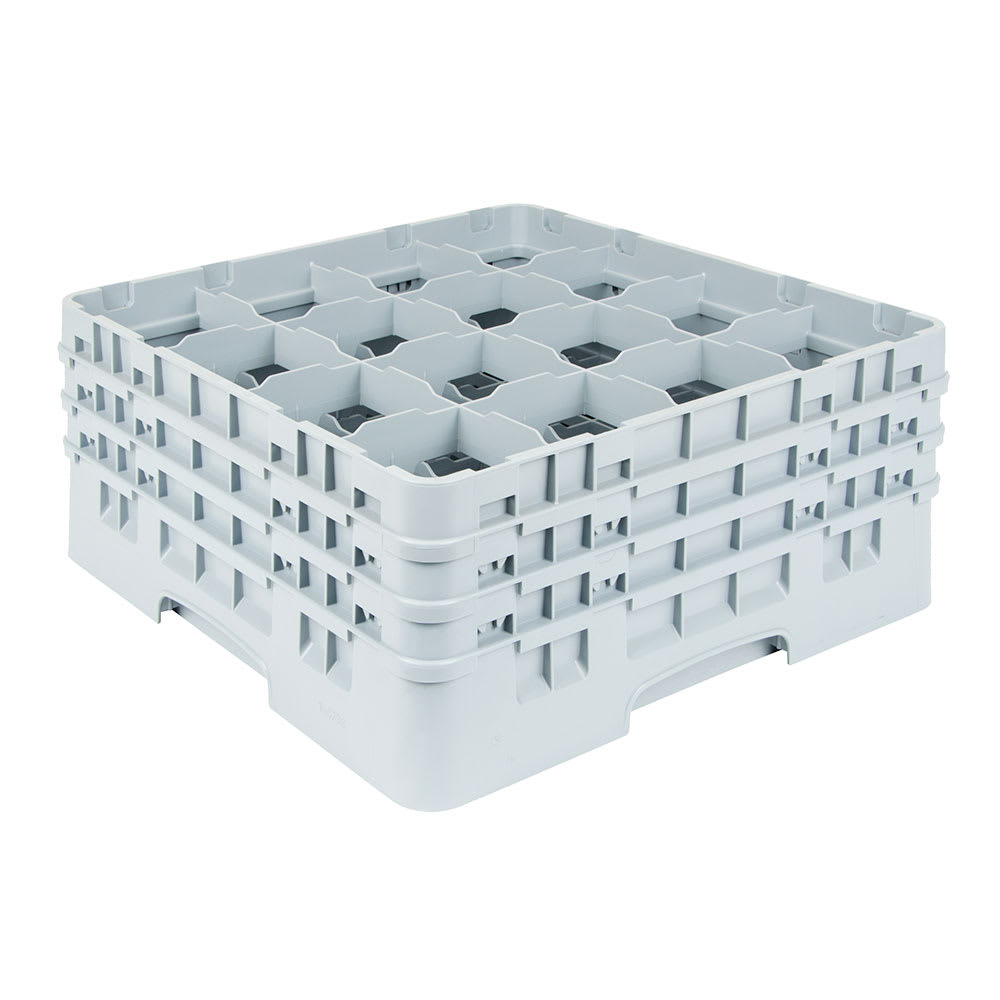 """Cambro 16S738151 Camrack Glass Rack - (3)Extenders, 16-Compartment, 7-3/4""""H Soft Gray"""