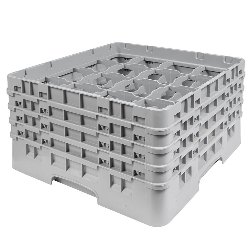 "Cambro 16S800151 Camrack Glass Rack - (4)Extenders, 16-Compartment, 8-1/2""H Soft Gray"