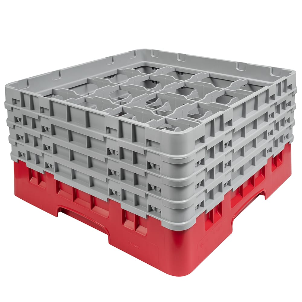 """Cambro 16S800163 Camrack Glass Rack - (4)Extenders, 16-Compartment, 8-1/2""""H Red"""