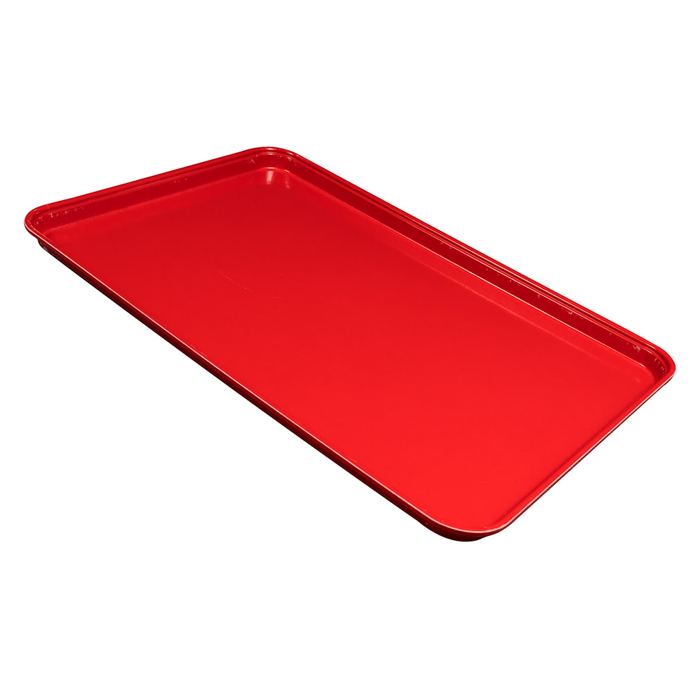 "Cambro 1826CL163 Rectangular Camlite Tray - 18x25 3/4"" Rose Red"
