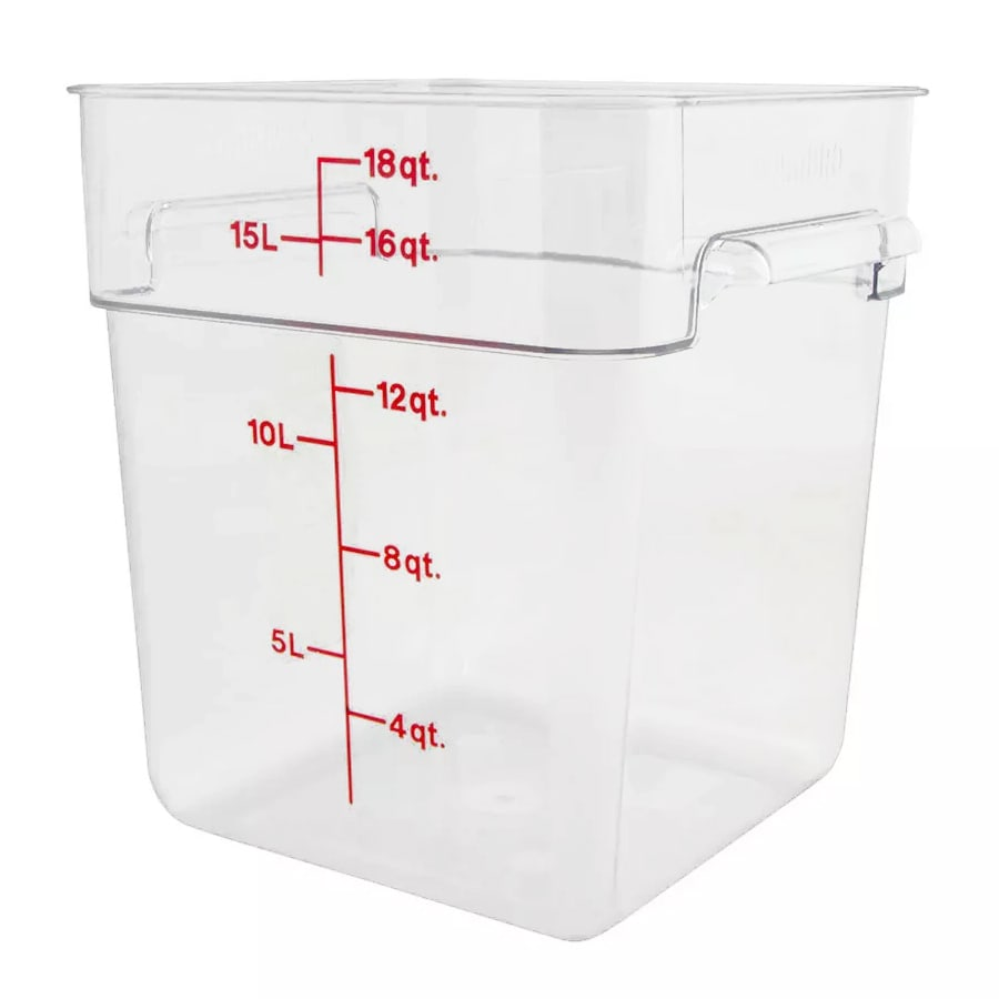 Cambro 18SFSCW-135 18 qt CamSquare Food Container - Polycarbonate, Clear