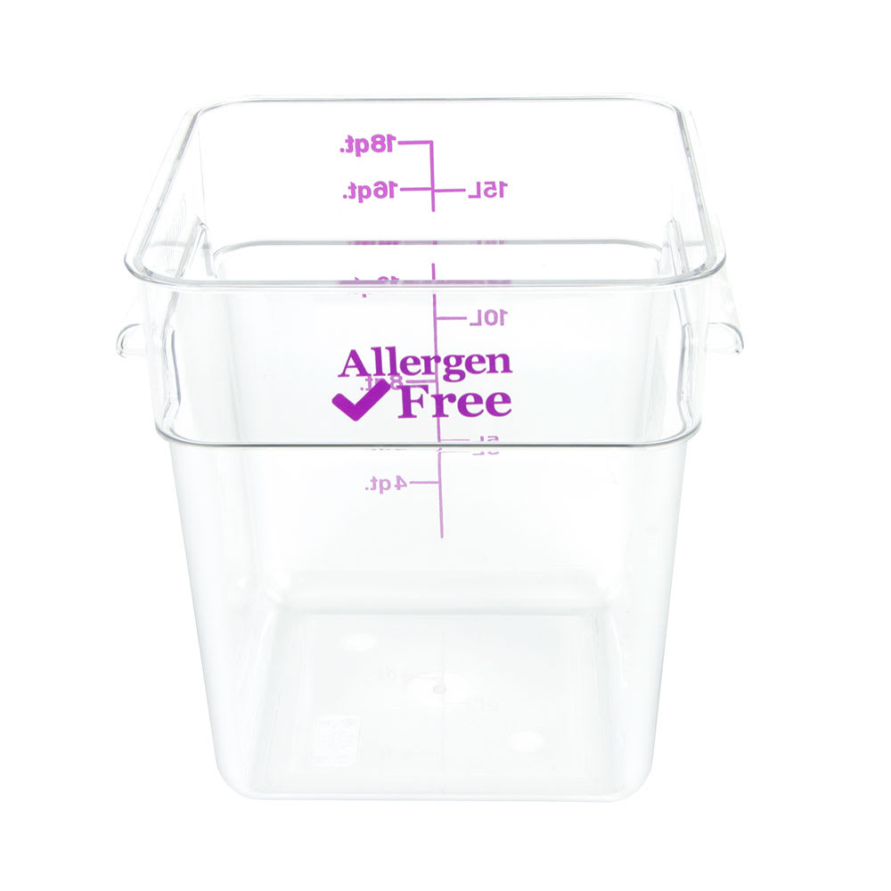 Cambro 18SFSCW441 18-qt Food Container - Allergen-Free, Polycarbonate, Clear
