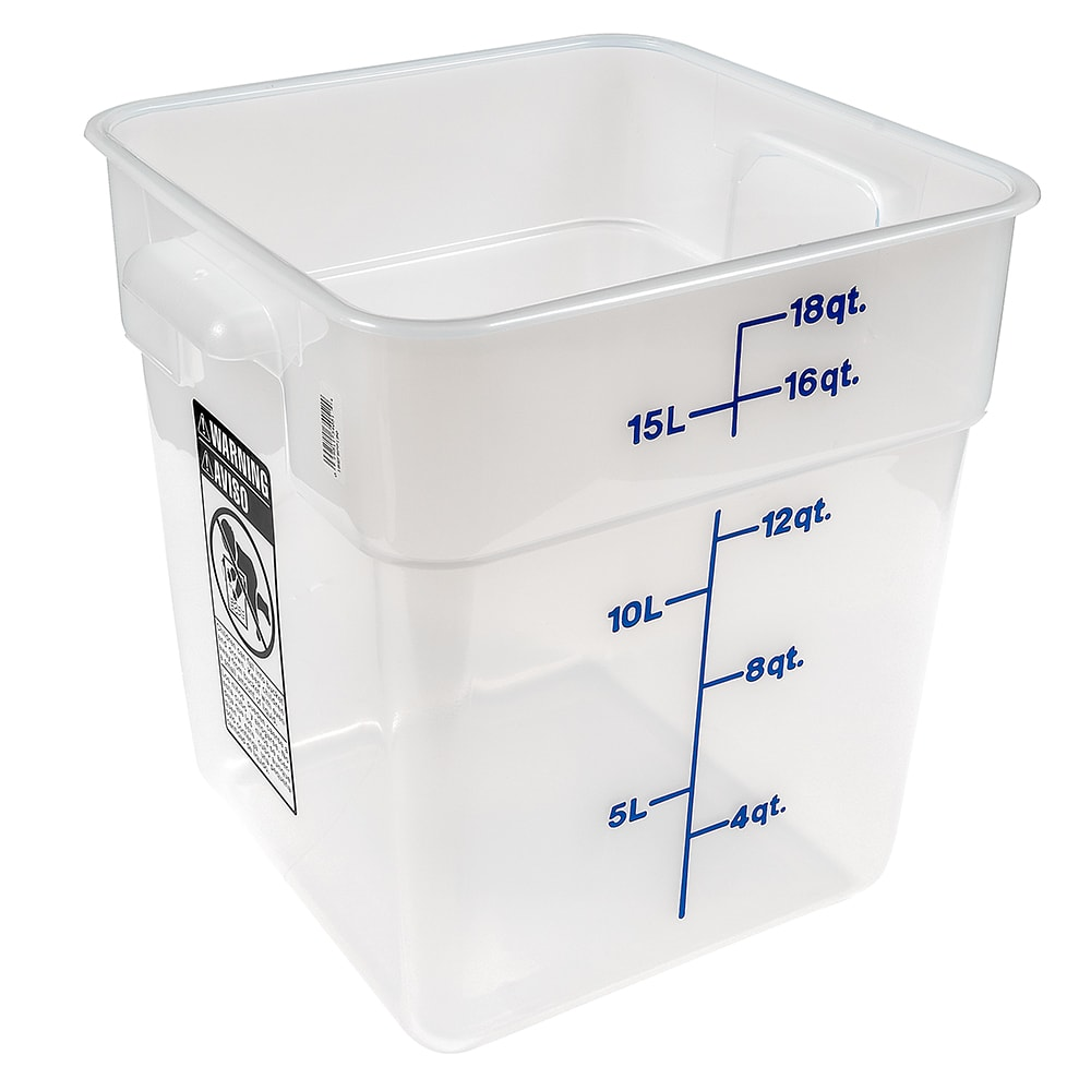 Cambro 18SFSPP190 18 qt CamSquare Food Container - Polypropylene, Translucent