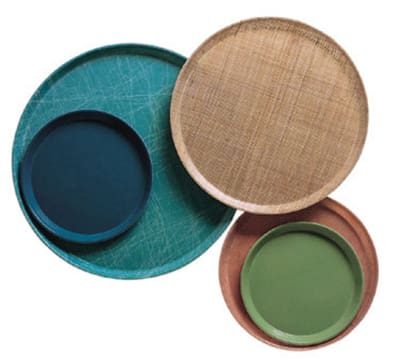 """Cambro 1950203 19-1/2"""" Round Serving Camtray - Low-Profile, Decorator Grass Mat"""