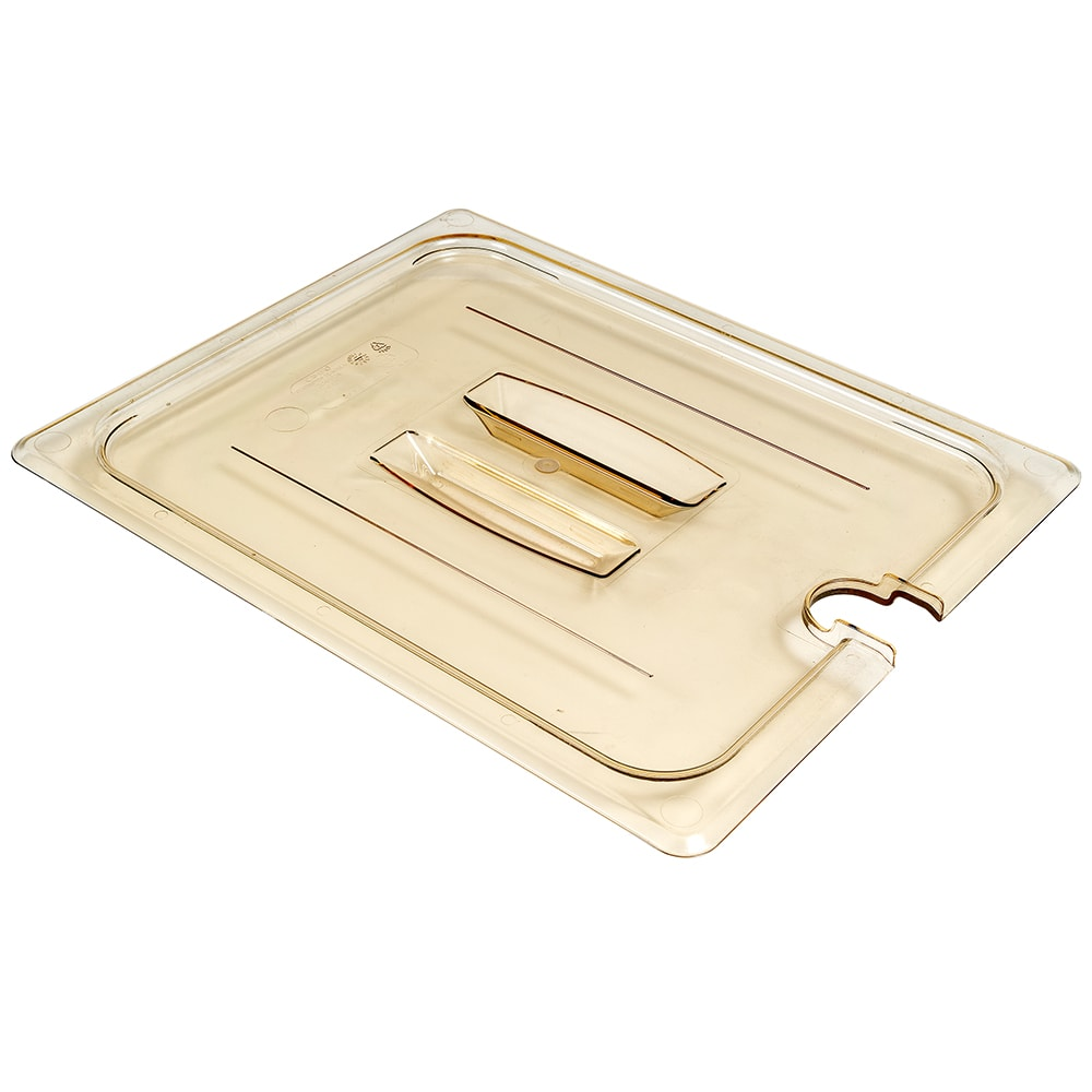 Cambro 20HPCHN150 H-Pan Food Pan Cover - Half Size, Notched, Handle, Non-Stick, Amber