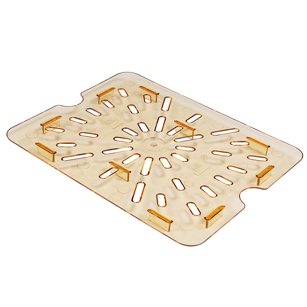 Cambro 20HPD150 H-Pan Food Pan Drain Shelf - Half Size, Non-Stick, Amber