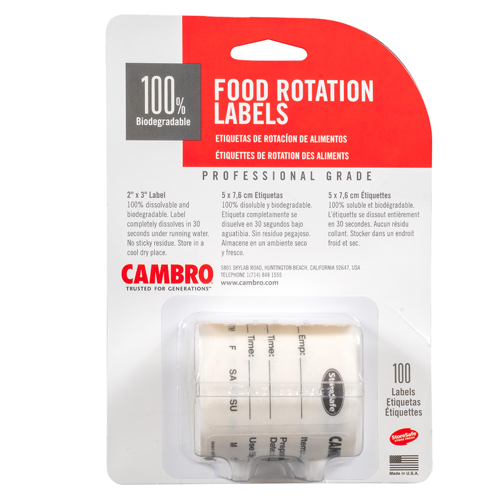 "Cambro 23SL StoreSafe Food Rotation Labels - 2x3"" (100 Per Roll)"