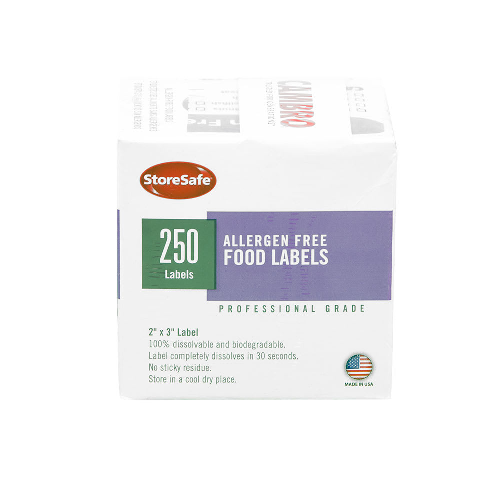 """Cambro 144-23SLB250AF Allergen-Free Food Rotation Label - 2x3"""", White/Purple"""