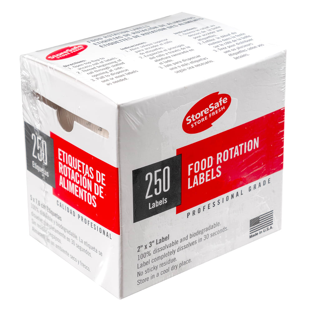"Cambro 23SLB6250 StoreSafe Food Rotation Labels - 2"" x 3"", White"
