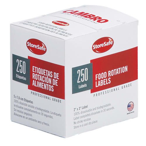 "Cambro 23SLB6250 StoreSafe Food Rotation Labels - 2x3"" (250 Per Roll) 6-Pk"