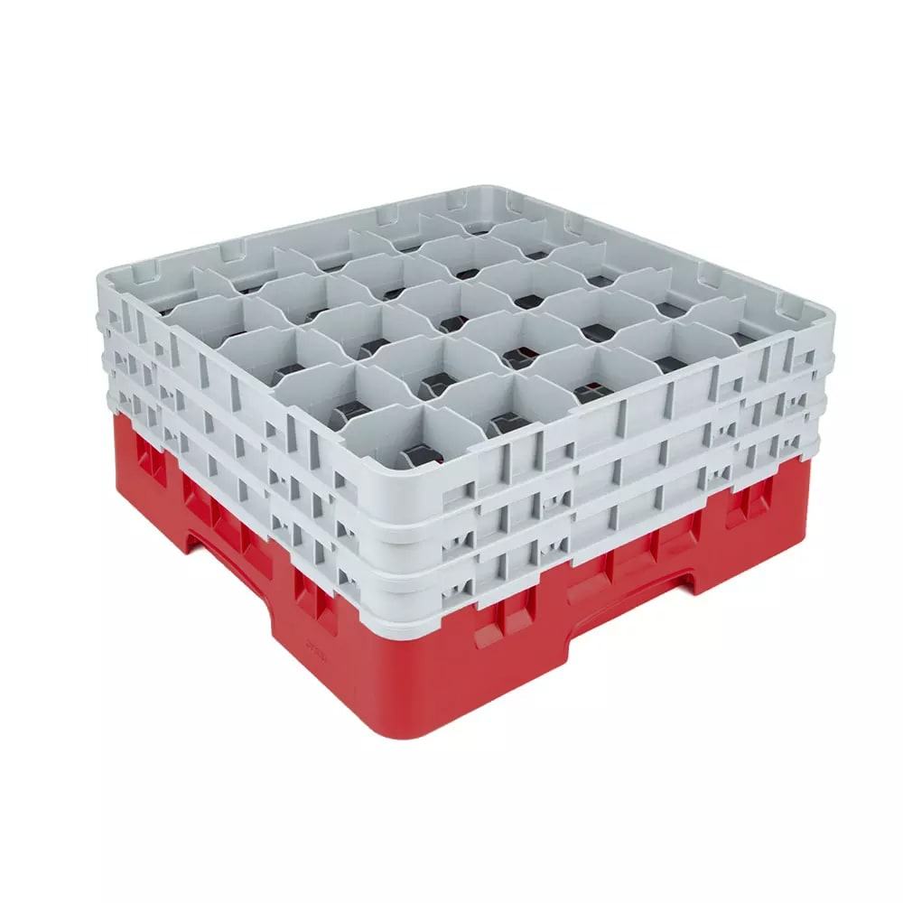 Cambro 25S738163 Camrack Glass Rack - (3)Extenders, 25 Compartment, Low Profile, Red
