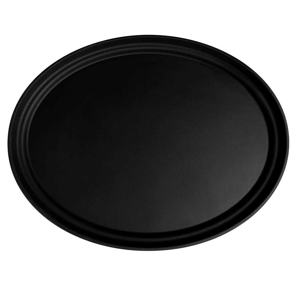 "Cambro 2700CT110 Oval Camtread Serving Tray - 22x27"" Black Satin"