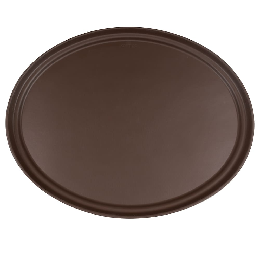 "Cambro 2700CT138 Oval Camtread Serving Tray - 22x27"" Tavern Tan"
