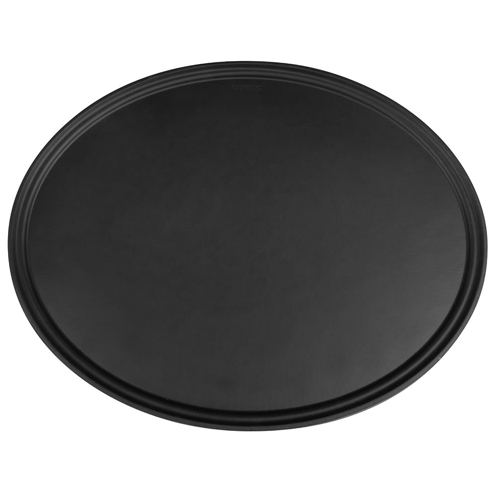 "Cambro 2900CT110 Oval Camtread Serving Tray - 23-1/2x29"" Black Satin"