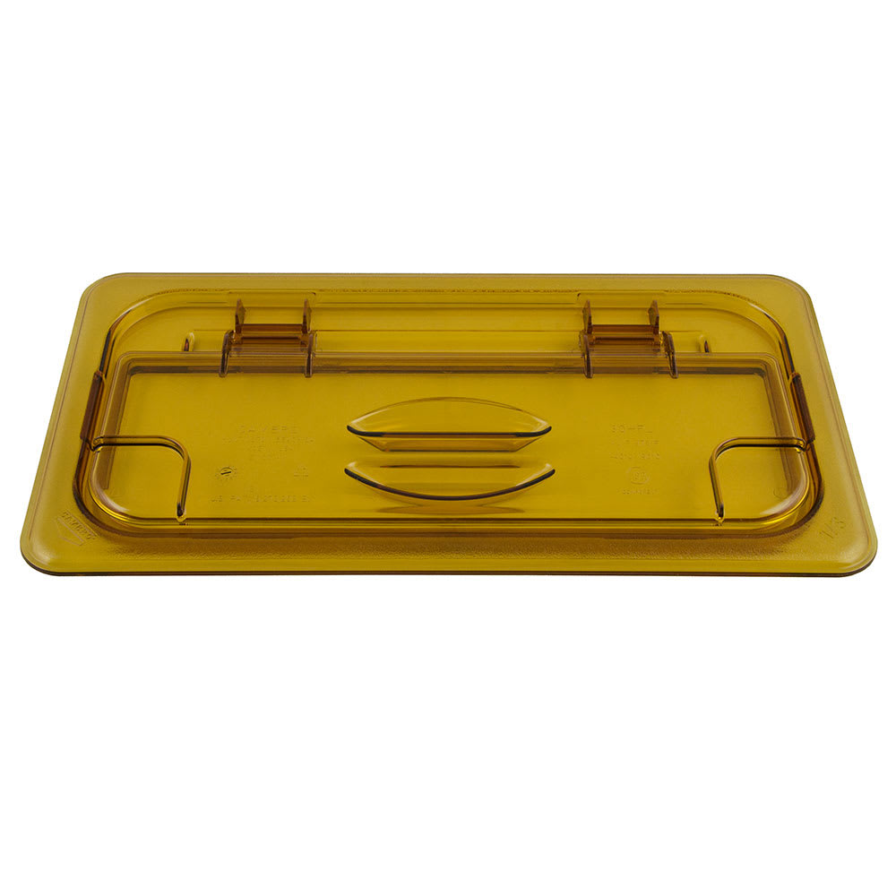 Cambro 30HPL150 FlipLid Hot Food Pan Cover - 1/3 Size, Hinged, Amber