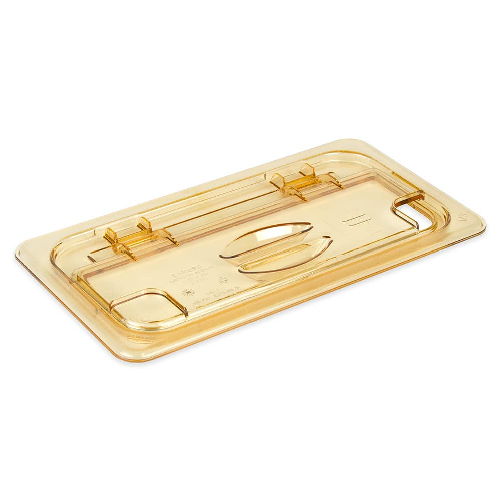 Cambro 30HPLN150 FlipLid Hot Food Pan Cover - 1/3 Size, Notched, Hinged, Amber