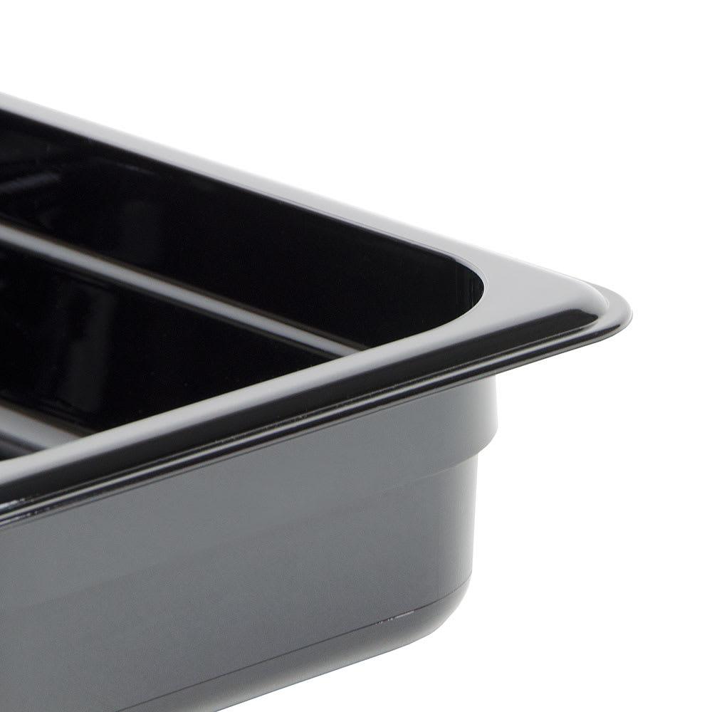 """Cambro 32HP110 H-Pan Hot Food Pan - 1/3 Size, 2 1/2""""D, Non-Stick, Black"""