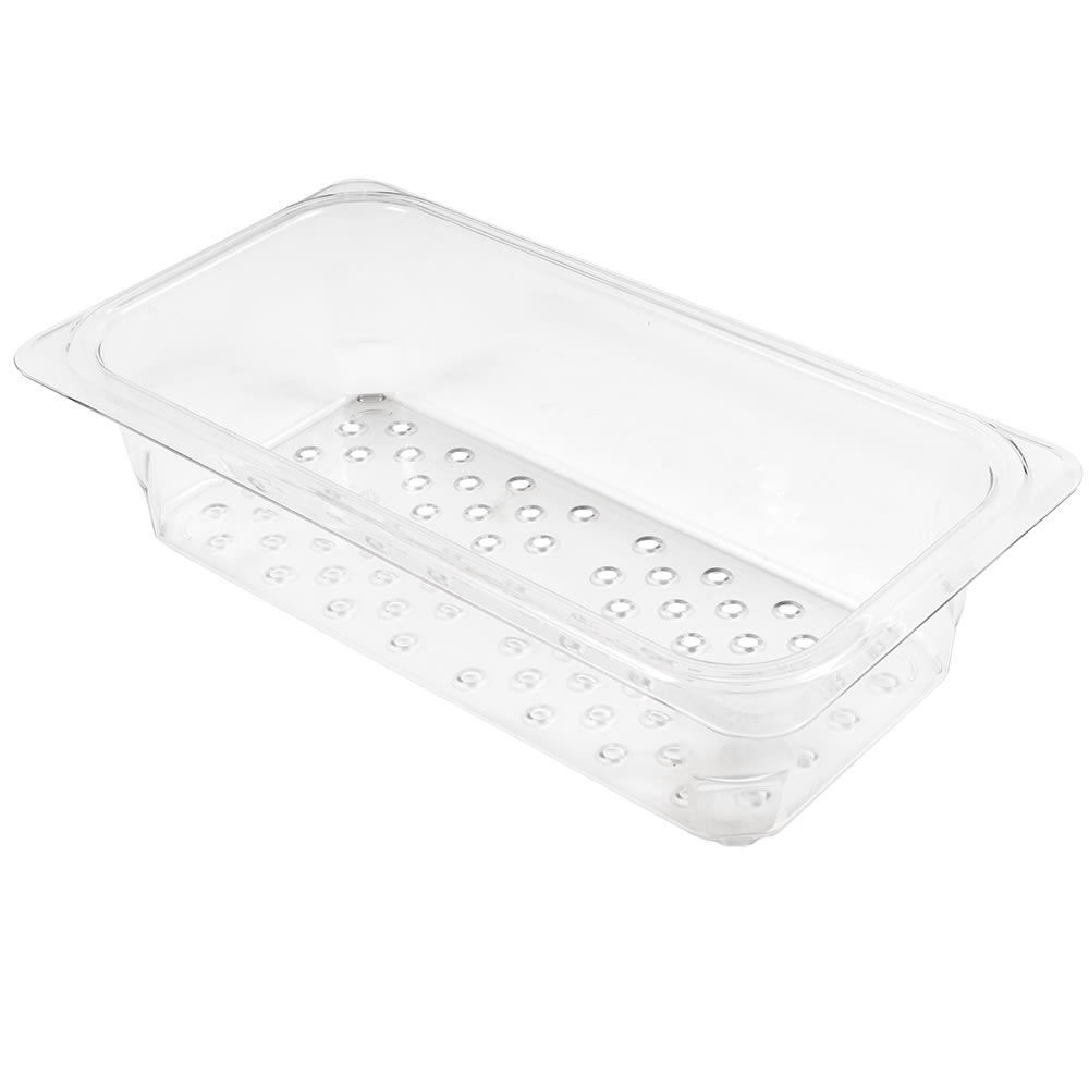 """Cambro 33CLRCW135 Camwear Colander - 1/3 Size, 3""""D, Clear"""